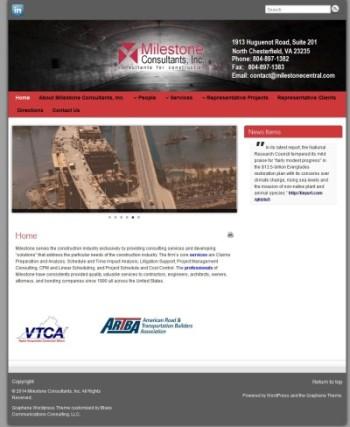 milestone consultants' website as seen on desktop