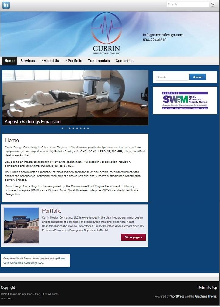 New website development for healthcare design architect.