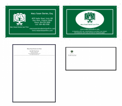 Corporate re-brading including letterhead, envelopes and business cards for environmental law client.